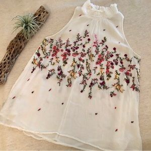 Anthro Floreat Sotra White Floral Top sz S